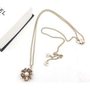 Chanel Gold Plated Flower Plum Simulated Glass Pearl Pendant Necklace