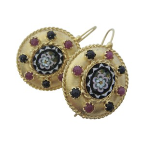 Tagliamonte Gold Plated Over Sterling Silver with Micro-Mosaic Cameos Sapphires and Rubies Earrings
