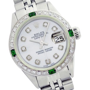 Rolex Datejust 69174 Stainless Steel Mother of Pearl Diamond Dial & Emerald 26mm Womens Watch