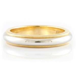 TIFFANY&Co. 18K yellow Gold 950Platinum 2 color Milgrain Ring