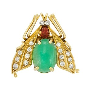 Van Cleef & Arpels 18K Yellow Gold 1.50ct Emerald, .40ct Diamond & Ruby Insect Brooch
