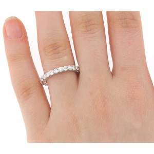 18K White Gold & 1.52ct Diamond Eternity Band Ring Size 5.75