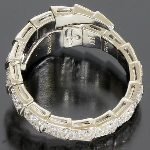 Bulgari Serpenti 18K White Gold Row Diamond Ring Size 10.5