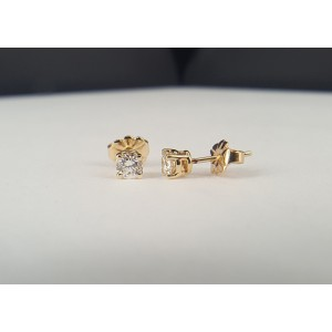 14K Yellow Gold Round 0.19ct. Diamond Stud Earrings