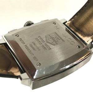 TAG HEUER CW2113-0 Monaco Stainlees Steel/Leather belt Chronograph Steve McQueen Wrist watch RSH-1149