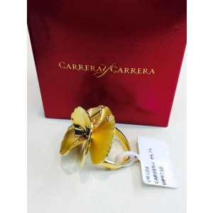 Carrera y Carrera 18K Yellow Gold & Diamond Flower Ring Size 6.75
