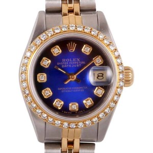 Rolex Datejust 18k Yellow Gold Two Tone Blue Vignette Diamond Dial 18K Yellow Gold  Diamond Bezel Watch-26mm