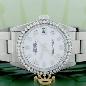Rolex Datejust Midsize White Arabic Dial 31MM Automatic Stainless Steel Oyster Watch 78240 w/Diamond Bezel
