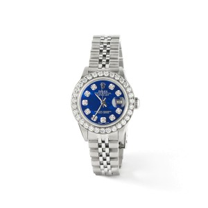 Rolex Datejust Steel 26mm Jubilee Watch Royal Blue MOP 1.3CT Diamond Bezel/Dial