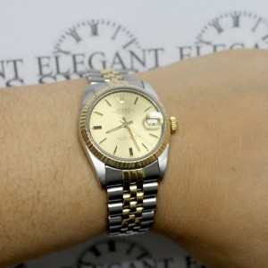 Rolex Datejust Midsize 2-Tone Yellow Gold/Stainless Steel Original Champagne Stick Dial 31MM Jubilee Watch 68273