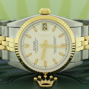 Rolex Datejust Midsize 2-Tone Yellow Gold/Stainless Steel Jubilee Cream Factory Dial 31MM Watch 68273