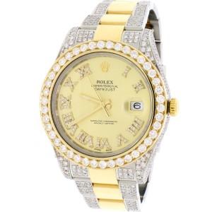 Rolex Datejust II 2-Tone 18K YG/SS 41MM Mens Watch 116333 with Diamond Bezel/Bracelet/Case w/Box Papers