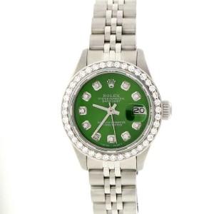 Rolex Datejust Ladies 26MM Automatic Stainless Steel Jubilee Watch w/Olive Green Diamond Dial & Bezel