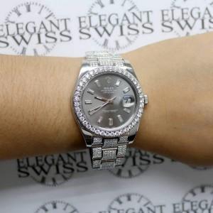 Rolex Datejust II 41MM Stainless Steel Automatic w/9.4CT Diamond Dial, Bezel & Bracelet 116300 Box Papers