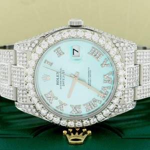 Rolex Datejust II 41MM Steel Mens Oyster Watch w/14.1Ct Diamond Dial, Bezel, & Bracelet 116300