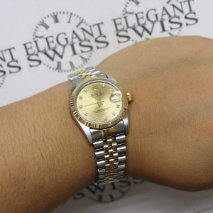 Rolex Datejust Midsize 31mm Yellow Gold/SS Factory Diamond Dial 68273