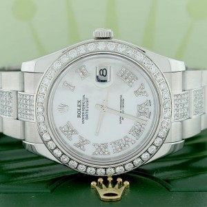 Rolex Datejust II 41MM Stainless Steel Automatic Oyster Mens Watch w/MOP Roman Diamond Dial, Bezel, & Bracelet 116300