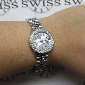 Rolex Datejust Ladies 26MM Automatic Steel Jubilee Watch w/White MOP Diamond Dial & 1.30Ct Bezel