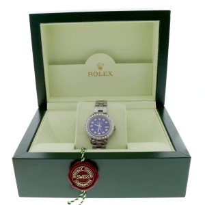 Rolex Datejust Ladies 26MM Automatic Stainless Steel Oyster Watch w/Navy Blue Diamond Dial & 1.45Ct Bezel