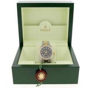 Rolex Datejust 2-Tone 18K Yellow Gold & Stainless Steel Jubilee Watch 36MM 16013 w/Diamond Dial & Bezel