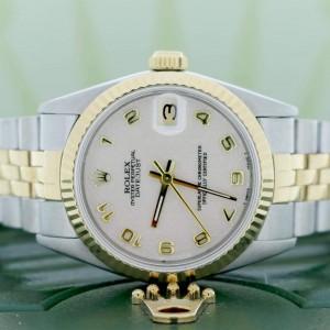 Rolex Datejust 2-Tone Gold/Steel Factory Jubilee Arabic Dial 31mm Midsize Watch 68273