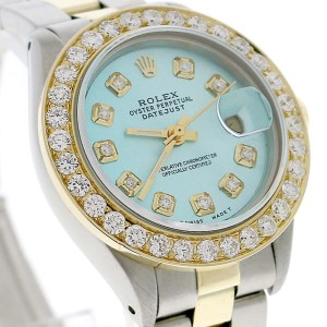 Rolex Datejust Ladies 2-Tone Gold/Steel 26MM Automatic Oyster Watch w/Sky Blue MOP Diamond Dial & 1.30CT Bezel