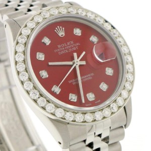 Rolex Datejust 36MM Automatic Stainless Steel Jubilee Watch w/Candy Red Diamond Dial & 2.7Ct Bezel