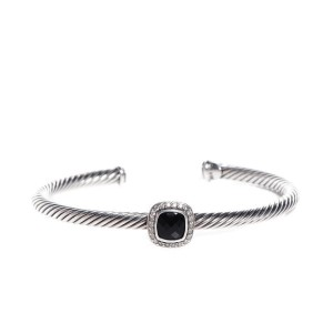 David Yurman Sterling Silver 0.24ct Diamond Black Onyx Bracelet