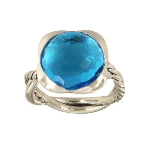 David Yurman Sterling Silver Faceted blue topaz Ring Size 7.5