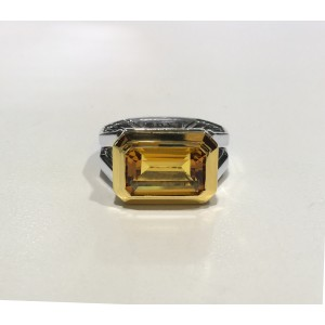 David Yurman Sterling Silver Emerald-cut Citrine 13 x 8 mm Ring Size 7