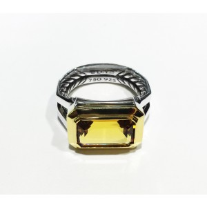 David Yurman Sterling Silver Emerald-cut Citrine 13 x 8 mm Ring Size 7