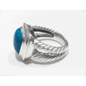 David Yurman Cable Collection Sterling Silver Turquoise stone dimension: 11x11mm Ring
