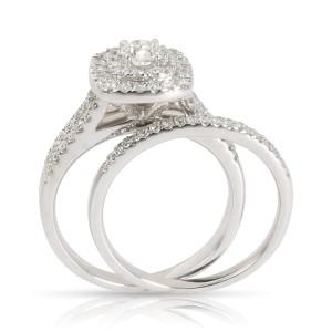 Zales Double Halo Diamond Wedding Set in 14K White Gold I I2 0.75 CTW