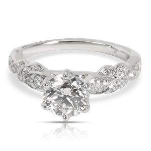 Monique Lhuillier Diamond Engagement Ring in Platinum GIA H VVS1 1.38 CTW