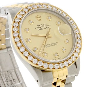 Rolex Datejust 2-Tone 18K Yellow Gold & Stainless Steel 36MM Automatic Jubilee Mens Watch w/Diamond Bezel/Dial