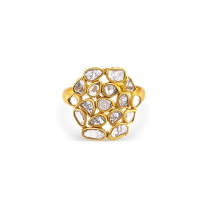 Rock & Divine Sunburst Diamond Slices Ring  in 18K Yellow Gold 0.75