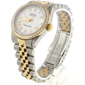 Rolex Datejust 2-Tone 18K Gold/Steel White Roman Dial 31mm Womens Watch with Diamond Bezel