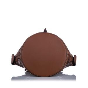 Paisley Checker Tambura Leather Satchel
