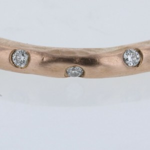 TIFFANY & Co. 18k Rose Gold/18P diamond Hammered Ring