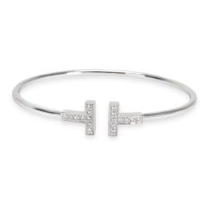 Tiffany & Co. T Wire Diamond Bangle in 18KT White Gold 0.22 CTW