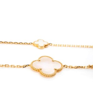 Van Cleef & Arpels Magic Alhambra Mother of Pearl Necklace in 18K Yellow Gold
