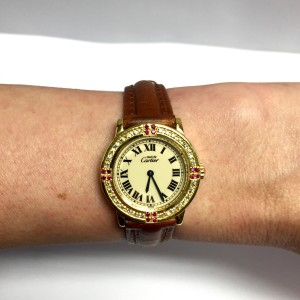 Cartier Must De Cartier Gold Plated Sterling Silver & Leather 27.50mm Watch
