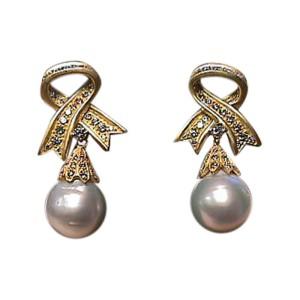 18K Yellow Gold South Sea Pearl & Diamond Drop Earrings