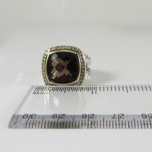 David Yurman Sterling Silver 18K .41Tcw 14mm Smoky Quartz Diamond Albion Ring