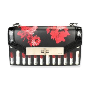 Prada Black Floral & Lipstick Print Leather Séverine Bag