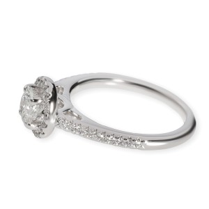 Blue Nile Halo Diamond Engagement Ring in 14K White Gold GIA G VVS1 0.75
