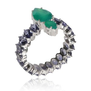 Iolite and Pear Shaped Crysophase Eternity Band in 18K White Gold