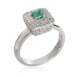 Halo Emerald Diamond Gemstone Ring in 18KT White Gold 0.808 CTW