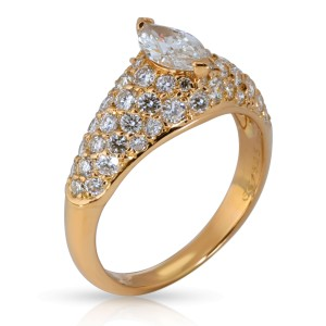 Cartier Pave Marquise Diamond Engagement Ring in 18K Yellow Gold 1.9 CTW