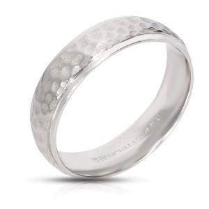 Benchmark Hammered 6mm Wedding Band in Platinum